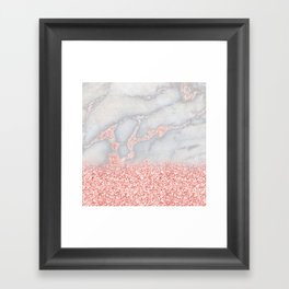 Sparkly Pink Rose Gold Glitter Ombre Bohemian Marble Framed Art Print