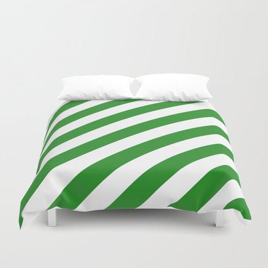Diagonal Stripes (Forest Green/White) Duvet Cover