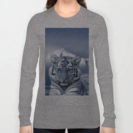 Blue White Tiger Long Sleeve T-shirt