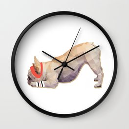 Downward Frenchie Wall Clock