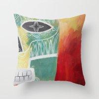 calavera Throw Pillows featuring Calavera 2 by Santiago Uceda
