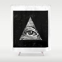 illuminati Shower Curtains featuring Illuminati by Jenny Joleen