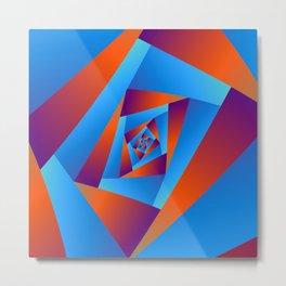 Orange and Blue Spiral Metal Print