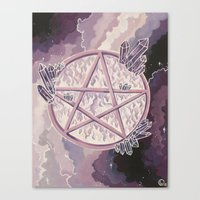 pentagram Canvas Prints featuring Amethyst Pentagram by Liz Ogletree