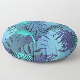 dark jungle leaves pattern Floor Pillow