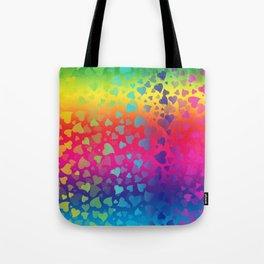 Hearts Rainbow Tote Bag
