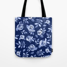 Hand painted navy blue white watercolor floral roses pattern Tote Bag
