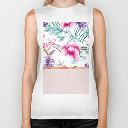 Chinoiserie pearl white floral & rose gold Biker Tank