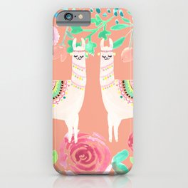 Llama in a floral frame iPhone Case