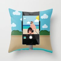 selfie Throw Pillows featuring Selfie? by Chiara Belmonte