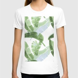 Tropical Leaves Green And Blue T-shirt