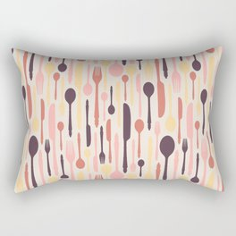 Multicolored cutlery on light background Rectangular Pillow