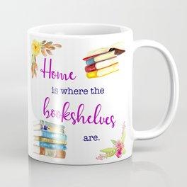 Home is Where the Bookshelves Are Coffee Mug