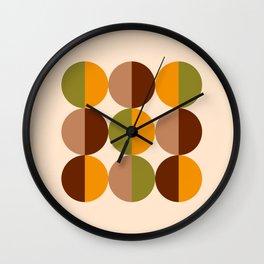 Retro circles grid 70s brown orange green Wall Clock
