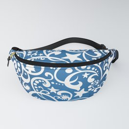 White On Blue Holiday Abstract Floral Design Fanny Pack