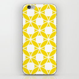 Geometric Floral Circles Summer Sun Shine White on Bright Yellow iPhone Skin