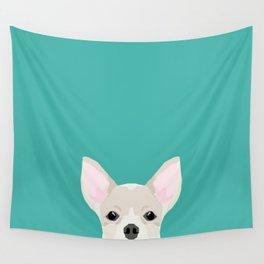 Chihuahua dog head pet art dog breed chihuahuas peeking Wall Tapestry
