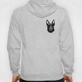 Black Scottie Dog on Blue Background Hoody