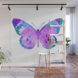Pink-Lilac Butterfly With Glitter Blue Trim Wall Mural