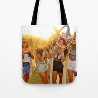 coachella Tote Bags featuring Coachella Festival by Cactus And Fog