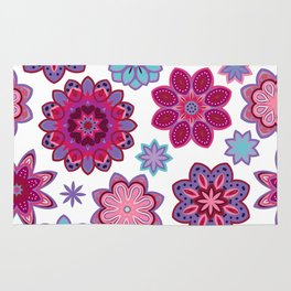 Flower retro pattern. Purple and blue flowers on white background. Rug