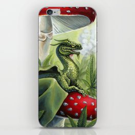 Smoking Dragon in Cannabis Leaves iPhone Skin