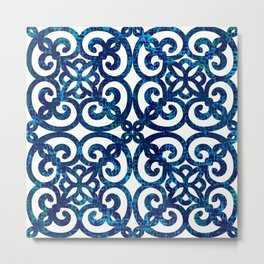 Chained indigo tile effect blue baroque french style Metal Print