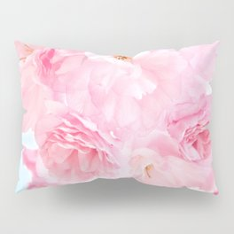 Soft Blue Sky with Pink Peonies Pillow Sham