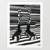 Black and White Shoebox Feet Art Print