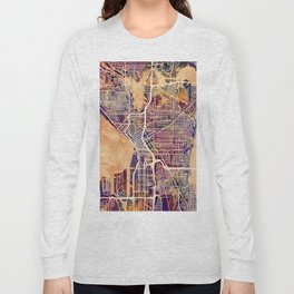 Seattle Washington Street Map Long Sleeve T-shirt
