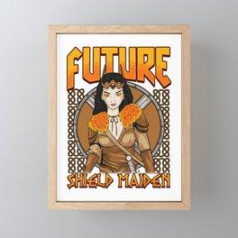 Future Shield Maiden Female Viking Warrior Framed Mini Art Print