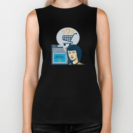 Female Internet Shopper Shopping Cart Biker Tank