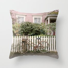 The Bicycle and Pink House Throw Pillow