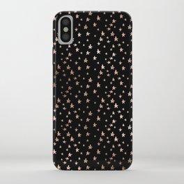 Black & Rose Gold Star Pattern iPhone Case