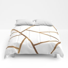 White and Gold Fragments - Geometric Design Comforters