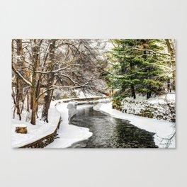 The Riverwalk in Winter Canvas Print