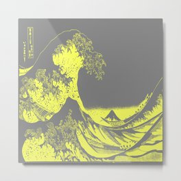 The Great Wave Yellow & Gray Metal Print
