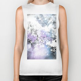 Watercolor Floral Lavender Teal Gray Biker Tank