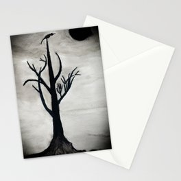 lonely night tree Stationery Cards