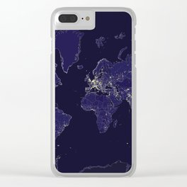 The world map at night with outlined countries Clear iPhone Case