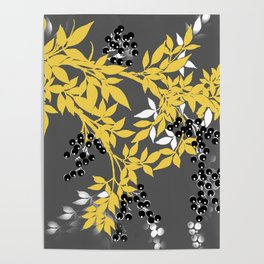 TREE BRANCHES YELLOW GRAY  AND BLACK LEAVES AND BERRIES Poster
