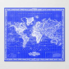 Vintage Map of The World (1833) Blue & White Canvas Print