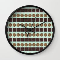cookie monster Wall Clocks featuring Cookie Monster (mint) by Sidrah  Mahmood