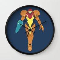 samus Wall Clocks featuring Samus(Smash) by ejgomez
