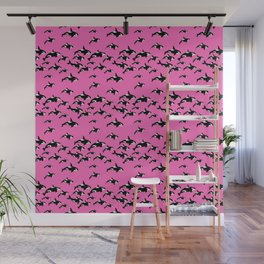 Killer Whales Orca Pod on Hot Pink Pattern Wall Mural