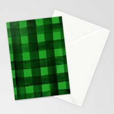 Buffalo Plaid Watercolor in Green Stationery Cards