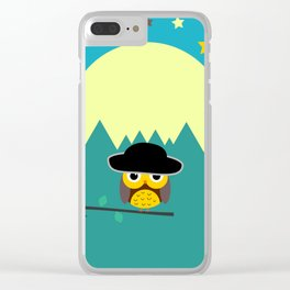 Clear night with a cute owl on a tree branch Clear iPhone Case