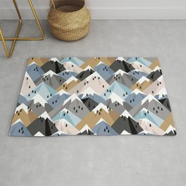 Alpine mountains winter climbing peaks snow Rug