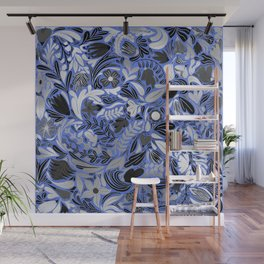 Silver Blue Floral Leaves Illustration Pattern Wall Mural