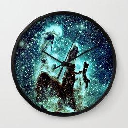Galaxy: Teal Blue Pillars of Creation  Wall Clock